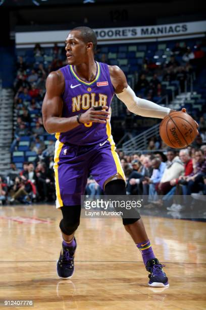 Rajon Rondo of the New Orleans Pelicans handles the ball during the game against the Sacramento Kings on January 30 2018 at the Smoothie King Center...