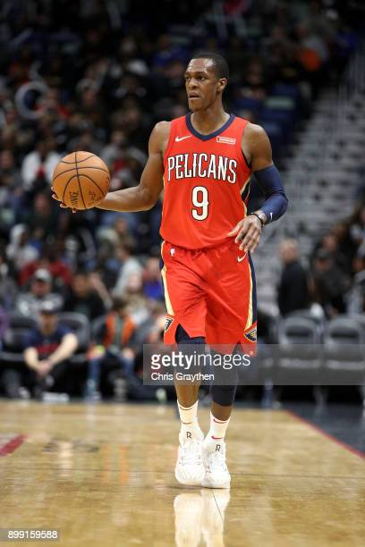 Rajon Rondo of the New Orleans Pelicans in action against the Brooklyn Nets at the Smoothie King Center on December 27 2017 in New Orleans Louisiana