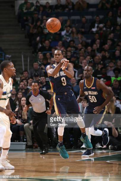 Rajon Rondo of the New Orleans Pelicans passes the ball against the Milwaukee Bucks on February 25 2018 at the BMO Harris Bradley Center in Milwaukee...
