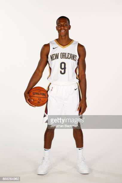 Rajon Rondo of the New Orleans Pelicans poses for a portrait during media day on September 25 2017 at Smoothie King Center in New Orleans Louisiana...