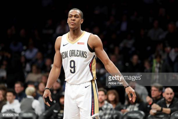 Rajon Rondo of the New Orleans Pelicans reacts against the Brooklyn Nets in the first quarter during their game at Barclays Center on February 10...