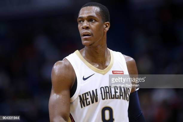 Rajon Rondo of the New Orleans Pelicans reacts during the second half against the Detroit Pistons at the Smoothie King Center on January 8 2018 in...