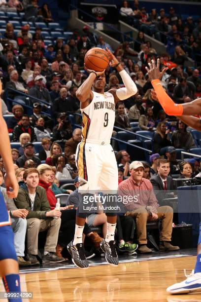 Rajon Rondo of the New Orleans Pelicans shoots the ball against the New York Knicks on December 30 2017 at the Smoothie King Center in New Orleans...