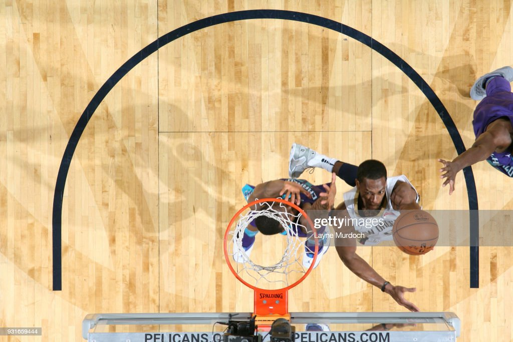 Rajon Rondo #9 of the New Orleans Pelicans shoots the ball against the Charlotte Hornets on March 13, 2018 at Smoothie King Center in New Orleans, Louisiana.