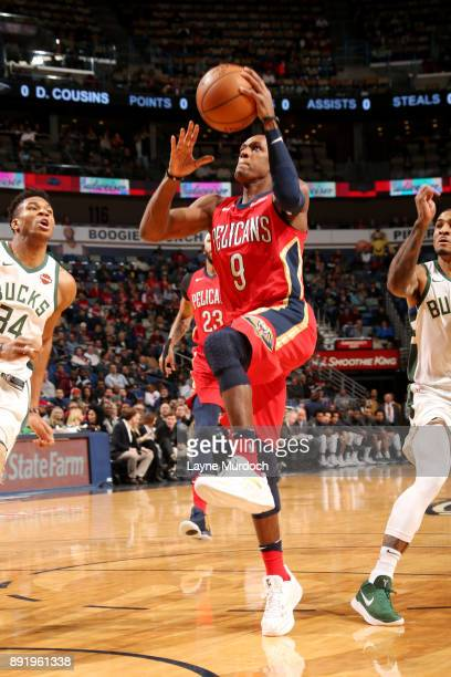 Rajon Rondo of the New Orleans Pelicans shoots the ball during the game against the Milwaukee Bucks on December 13 2017 at Smoothie King Center in...