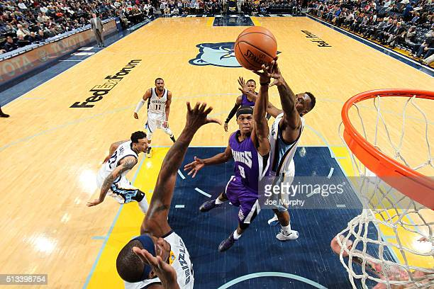 Rajon Rondo of the Sacramento Kings goes for the layup during the game against the Memphis Grizzlies on March 2 2016 at FedExForum in Memphis...