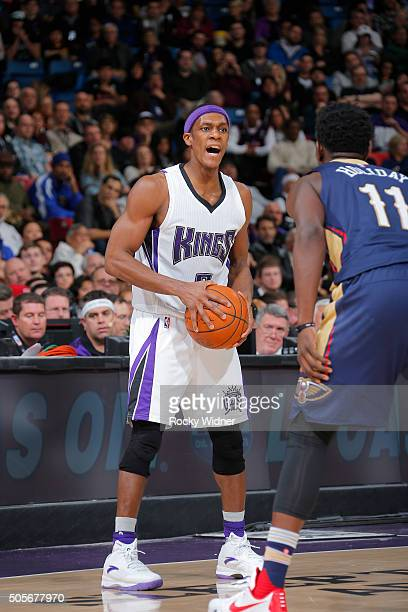 Rajon Rondo of the Sacramento Kings handles the ball against the New Orleans Pelicans on January 13 2016 at Sleep Train Arena in Sacramento...