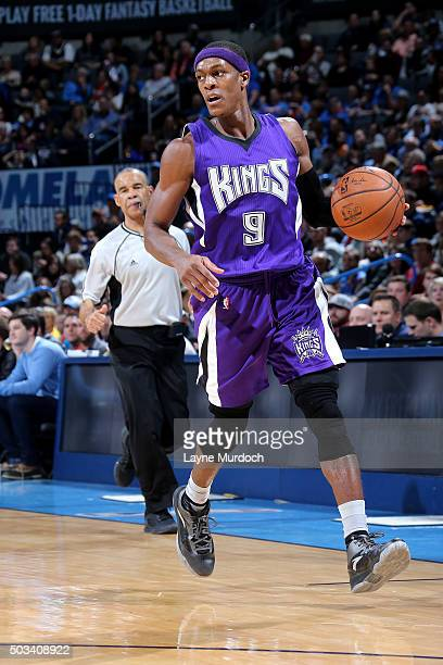 Rajon Rondo of the Sacramento Kings handles the ball during the game against the Oklahoma City Thunder on January 4 2016 at Chesapeake Energy Arena...