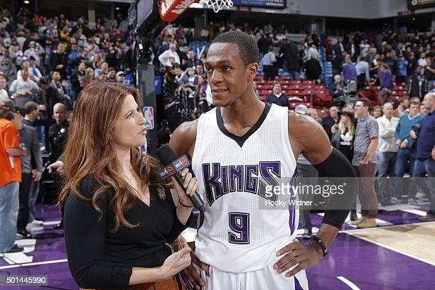 Rajon Rondo of the Sacramento Kings speaks with ESPN reporter Rachel Nichols after defeating the New York Knicks on December 10 2015 at Sleep Train...