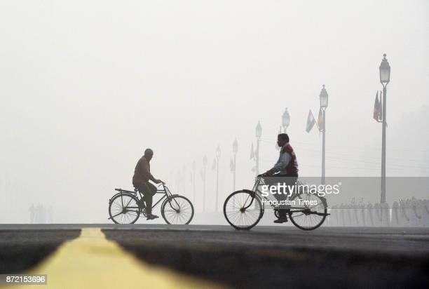 Rajpath seen covered with smog on November 9 2017 in New Delhi India Air pollution levels in the national capital continued to be severe as dense...