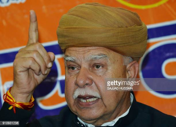 Rajput Karni Sena chief Lokendra Singh Kalvi addresses a press conference in New Delhi on January 27 2018 Thousands of police in riot gear guarded...