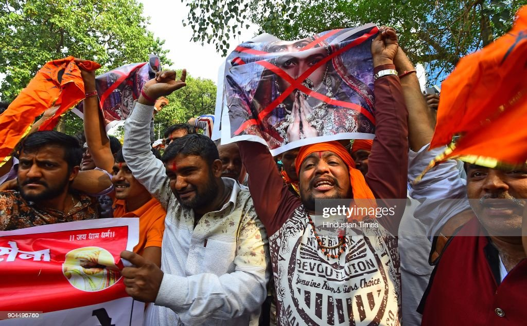 Rajput Karni Sena workers protesting outside the Central Board of Film Certification (CBFC) office in connection with the release of film Padmavat at Peddar Road, on January 12, 2018 in Mumbai, India. Protesters said changing the name of the film from Padmavati to Padmavat was not enough.