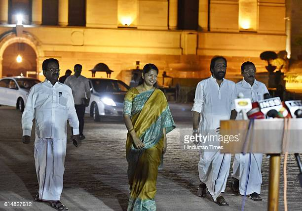 Rajya Sabha member Kanimozhi along with party MPs addressing media persons after the meeting with President of India over Cauvery water issue at...