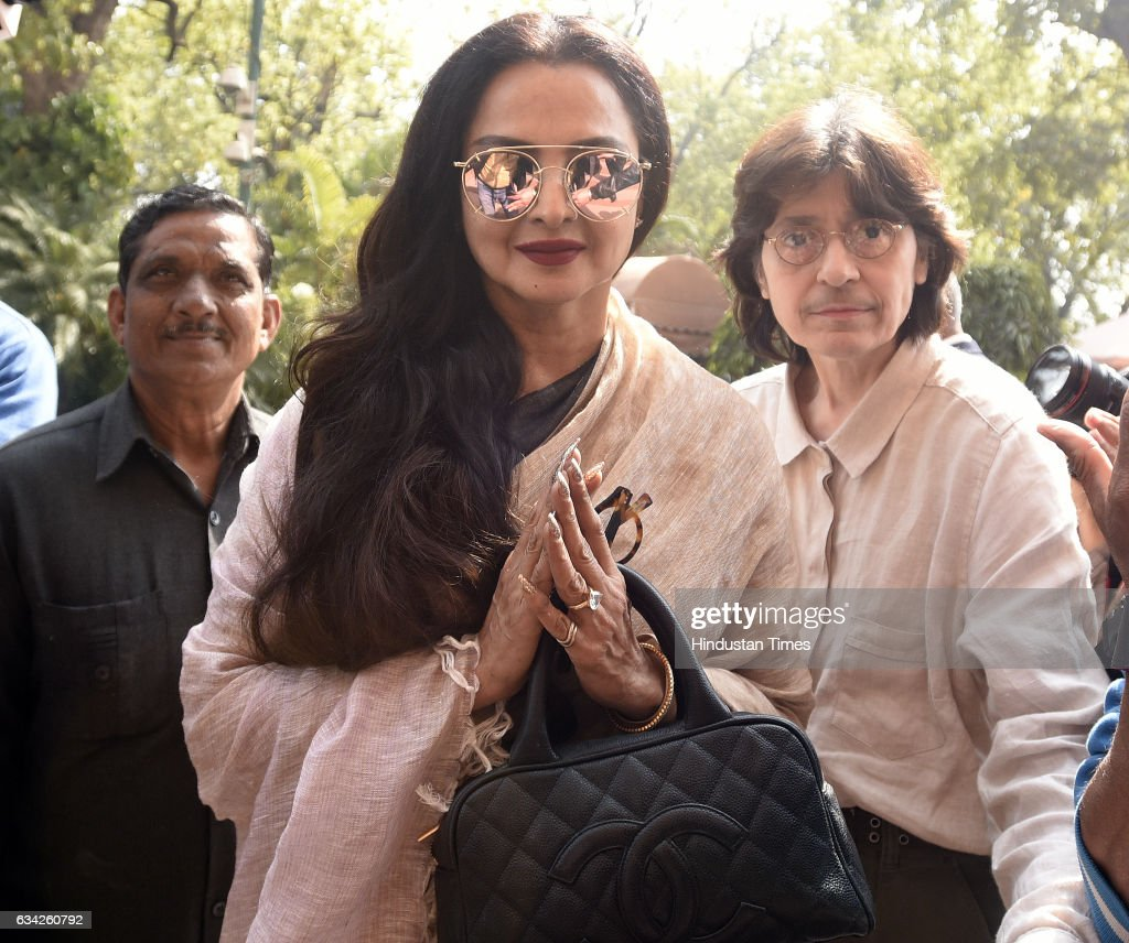 Rajya Sabha Member of Parliament and Film actress Rekha after attending the Parliament Budget Session on February 8 2017 in New Delhi India Prime...