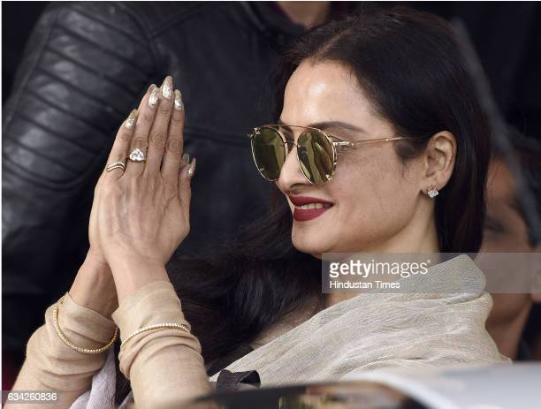 Rajya Sabha Member of Parliament and Film actress Rekha after attending the Parliament Budget Session on February 8, 2017 in New Delhi, India. Prime...
