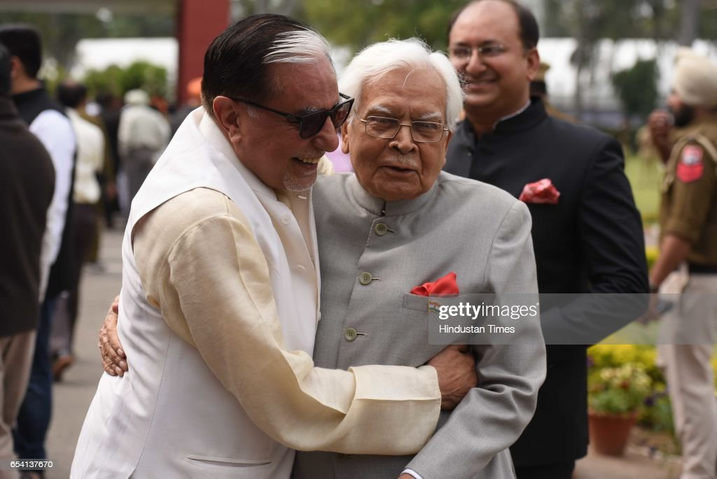 Rajya Sabha member Subash Chandra and senior congress leader Natwar Singh after Amrinder Singh oath ceremony at Punjab Raj Bhawan on March 16 2017 in.