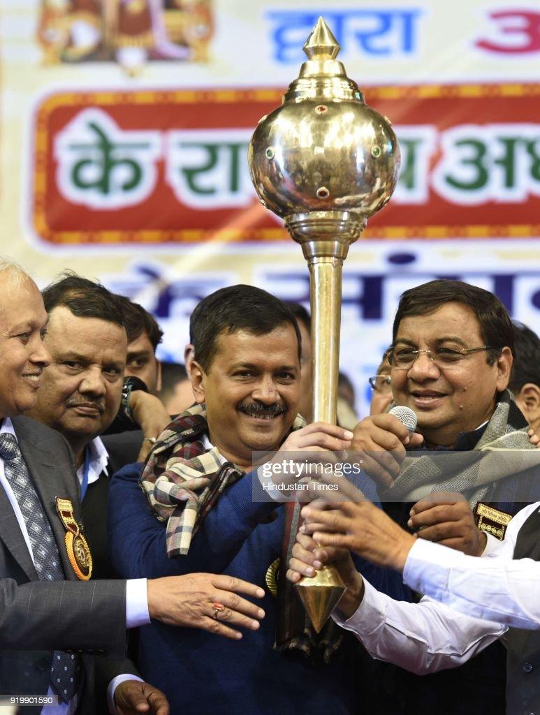 Rajya Sabha Member Sushil Gupta Facilitates Delhi CM Arvind kejriwal During A Function