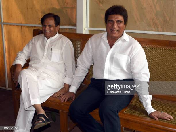 Rajya Sabha MP Ahmed Patel and Raj Babbar before press conference during the Parliament Budget Session in New Delhi India on Wednesday March 21 2018