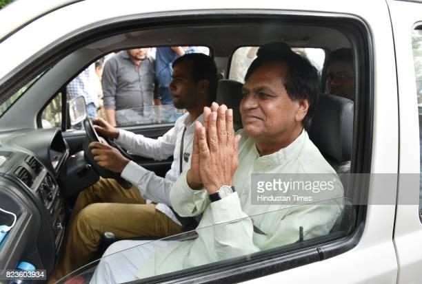 Rajya Sabha MP Ali Anwar after meeting with party leader Sharad Yadav at his residence on July 27 2017 in New Delhi India Nitish Kumar called off the...