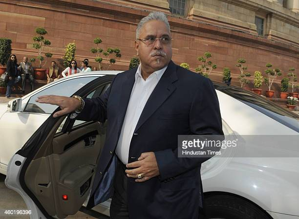 Rajya Sabha MP and Chairman of the UB Group Vijay Mallya at Parliament House during the Parliament winter session on December 9 2014 in New Delhi...