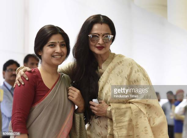 Rajya Sabha MP Rekha and Lok Sabha MP Dimple Yadav after casting their votes for Vice Presidential Election at Parliament House on August 5 2017 in...
