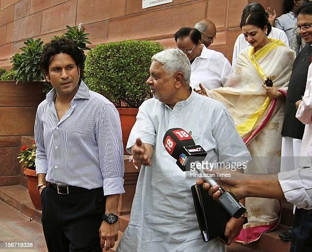 NEW DELHI INDIA AUGUST 8 Rajya Sabha MP Rekha with Sachin Tendulkar at Monsoon session of the Parliament House on August 8 2012 in New Delhi India