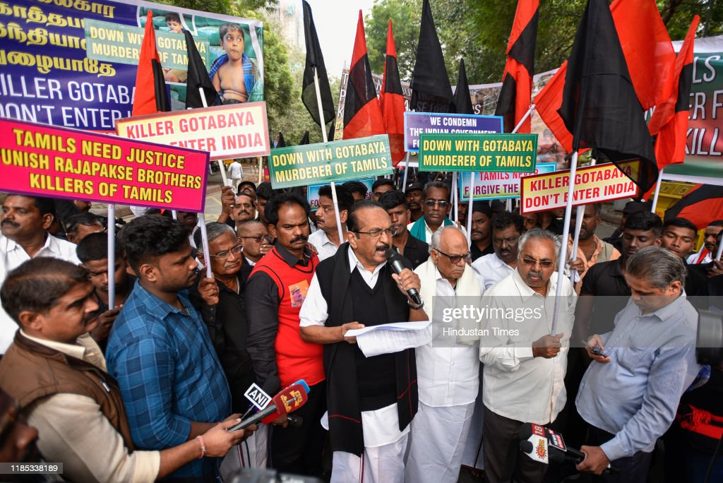 MDMK Stages Protest Against Newly Elected Sri Lankan President Gotabaya Rajapaksa Ahead Of His Visit : News Photo