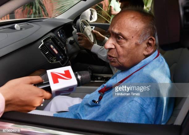 Rajya Sabha MP Veerendra Kumar after meeting with party leader Sharad Yadav at his residence on July 27 2017 in New Delhi India Nitish Kumar called...