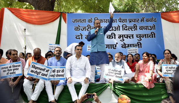 IND: Rajya Sabha MP Vijay Goel Protest To Expose The Kejriwal Government For The Alleged Wastage Of Public Money For Personal Gains
