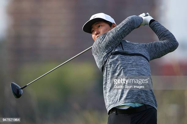 Rak Hyun Cho of South Korea in action during day four of Open de Espana at Centro Nacional de Golf on April 15 2018 in Madrid Spain