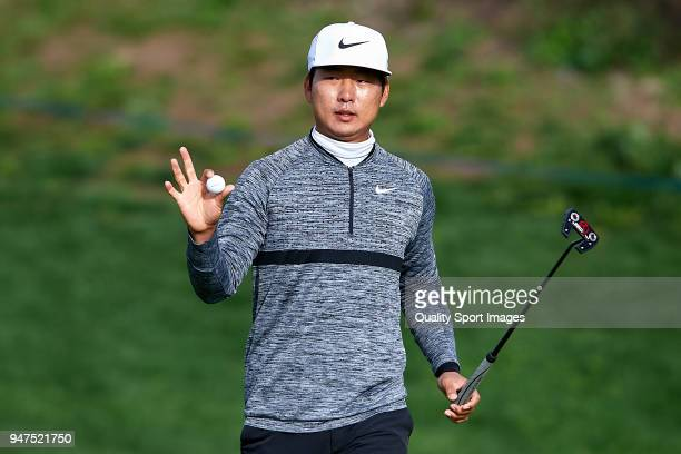 Rak Hyun Cho of South Korea reacts during day four of Open de Espana at Centro Nacional de Golf on April 15 2018 in Madrid Spain