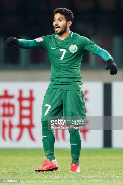 Rakan Al Anaze of Saudi Arabia gestures during the AFC U23 Championship China 2018 Group C match between Jordan and Saudi Arabia at Changshu Sports...