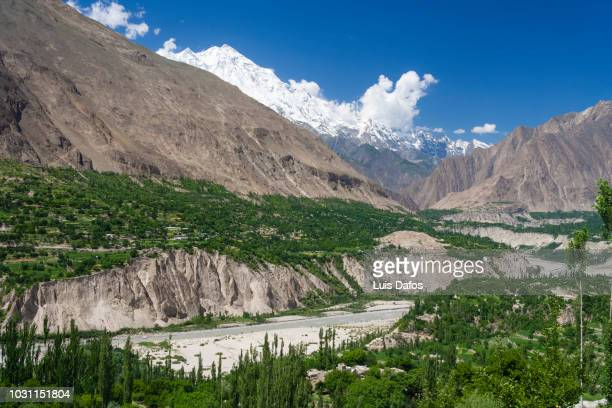 rakaposhi mountain and hunza valley - hunza valley stock pictures, royalty-free photos & images