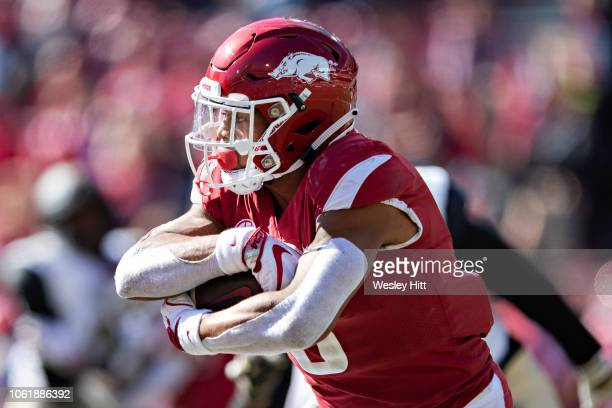 Rakeem Boyd of the Arkansas Razorbacks runs the ball in the first half of a game against the Vanderbilt Commodores at Razorback Stadium on October 27...