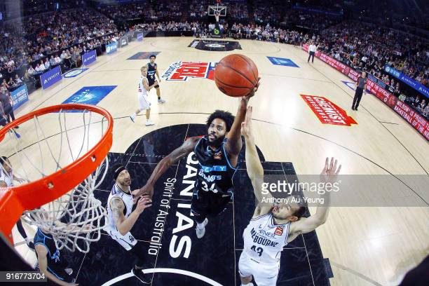Rakeem Christmas of the Breakers puts up a shot against Chris Goulding of United during the round 18 NBL match between the New Zealand Breakers and...