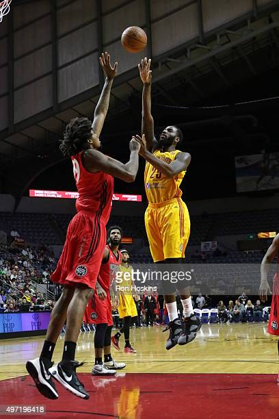 Rakeem Christmas of the Fort Wayne Mad Ants shoots over Lucas Nogueira of the Raptors 905 during their NBDL game at Memorial Coliseum November 14...