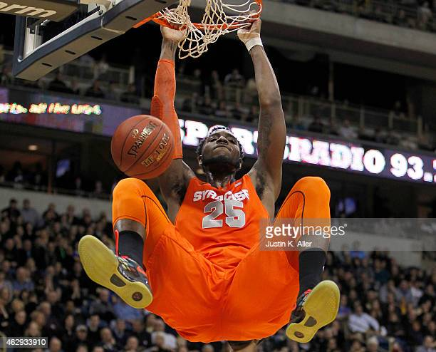 Rakeem Christmas of the Syracuse Orange dunks the ball against the Pittsburgh Panthers during the game at Petersen Events Center on February 7 2015...