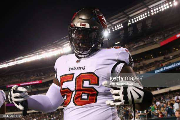 Rakeem Nunez-Roches of the Tampa Bay Buccaneers poses before a game against the Philadelphia Eagles at Lincoln Financial Field on October 14, 2021 in...