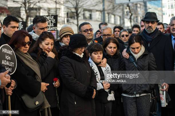 Rakel Dink wife of slain journalist Hrant Dink stands in front of the offices of Armenian weekly newspaper 'Agos' during a rally commemorating 11th...