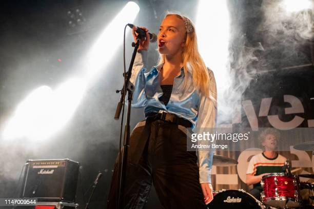 Rakel Leifsdottir of Dream Wife performs on stage at Beckett University Union during Live At Leeds festival on May 04 2019 in Leeds England