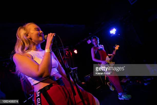 Rakel Mjoll and Bella Podpadec of Dream Wife performs at Whelan's on October 17 2018 in Dublin Ireland