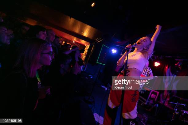 Rakel Mjoll of Dream Wife performs at Whelan's on October 17 2018 in Dublin Ireland