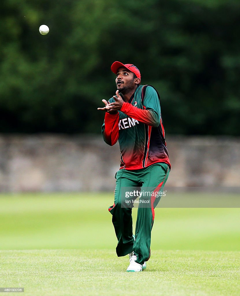 Rakep Patel of Kenya catches out Navneet Dhaliwal of Canada during the ICC World Twenty20 India Qualifier between Canada and Kenya at Myreside Cricket Club, on July 10, 2015 in Edinburgh Scotland.