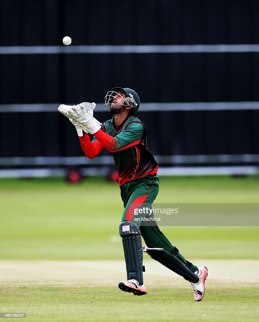 Rakep Patel of Kenya catches out Rizwan Cheema of Canada during the ICC World Twenty20 India Qualifier between Canada and Kenya at Myreside Cricket Club, on July 10, 2015 in Edinburgh Scotland.
