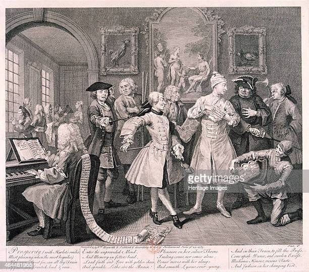 'A Rake's Progress' 1735 plate II of VIII Tom Rakewell is at his morning levee attended by hangers on of various professions At the rake's feet is a...
