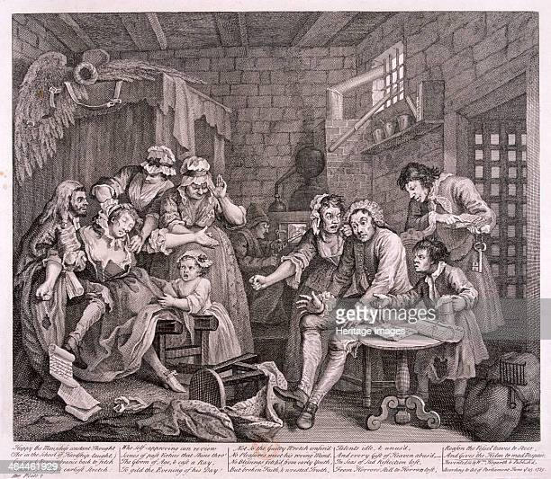 'A Rake's Progress' 1735 plate VII of VIII Tom Rakewell is confined to Fleet Prison London for debt and being harangued by his wife On the table next...
