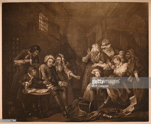 A Rake's Progress 7 Fleet Prison' from 'William Hogarth' by Austin Dobson 1904 Tom Rakewell is confined to Fleet Prison London for debt and being...