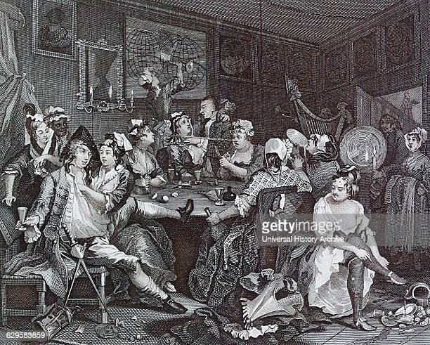 A Rake's Progress Plate 3 The Tavern Scene by William Hogarth English painter printmaker pictorial satiriSaint 'A Rake's Progress' 1733 By William...