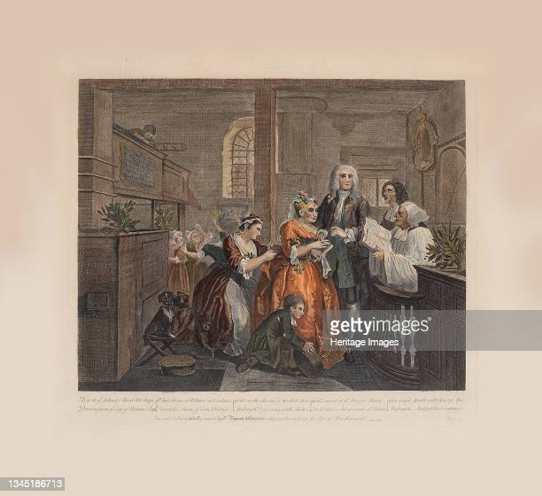 Rake's Progress, Plate 5: Married To An Old Maid, ca 1735. Private Collection. Artist Hogarth, William .
