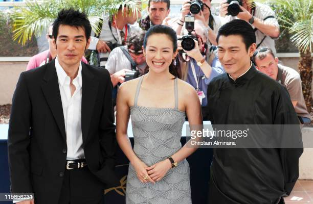 Rakeshi Kaneshiro Zhang Ziyi and Andy Lau during 2004 Cannes Film Festival 'House Of Flying Daggers' Photocall at Palais du Festival